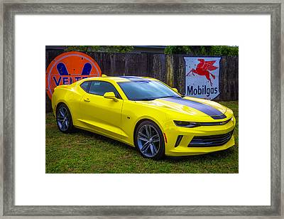 Yellow Camaro Framed Print by Garry Gay