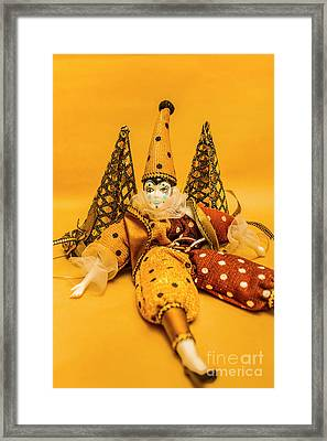 Yellow Carnival Clown Doll Framed Print by Jorgo Photography - Wall Art Gallery