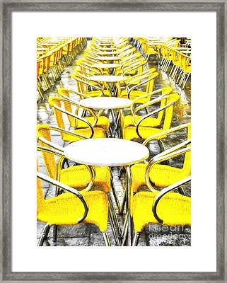 Yellow Chairs In Venice # 2 Framed Print by Mel Steinhauer
