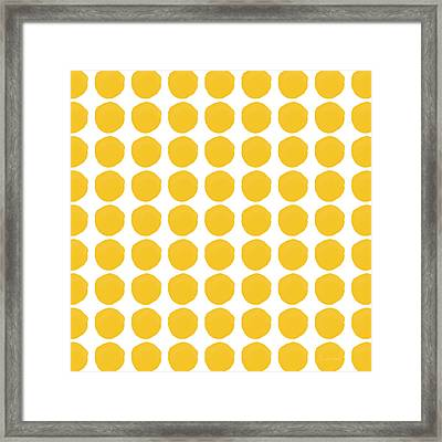 Yellow Circles- Art By Linda Woods Framed Print by Linda Woods