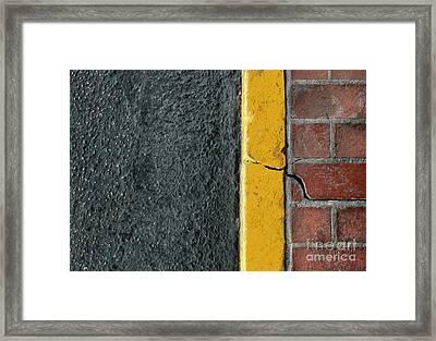 Yellow Curb Framed Print by Dan Holm