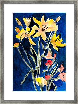 Yellow Daylilies Framed Print by Arline Wagner