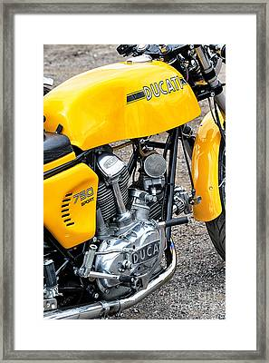 Yellow Ducati Framed Print by Tim Gainey
