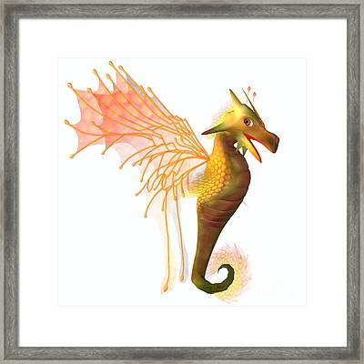 Yellow Faerie Dragon Framed Print by Corey Ford