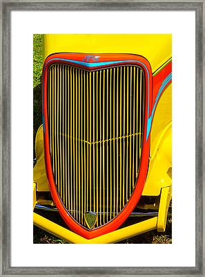 Yellow Ford Hot Rod Grill Framed Print by Garry Gay