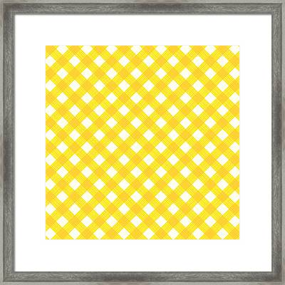 Yellow Gingham Fabric Cloth Framed Print by Natalia Ratselmeister