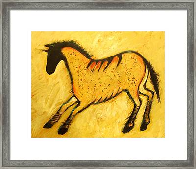 Yellow Horse Modern Cave Painting Framed Print by Carol Suzanne Niebuhr