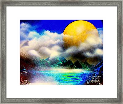 Yellow Moon 4682 E Framed Print by Greg Moores