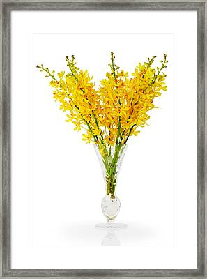 Yellow Orchid In Crystal Vase Framed Print by Atiketta Sangasaeng
