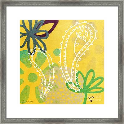 Yellow Paisley Garden Framed Print by Linda Woods