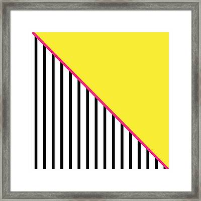 Yellow Pink And Black Geometric Framed Print by Linda Woods
