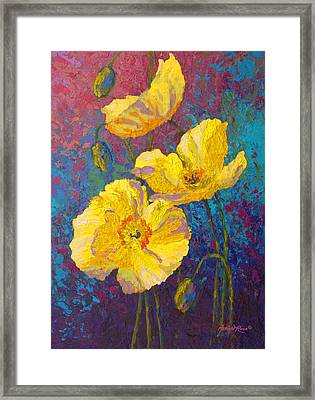 Yellow Poppies Framed Print by Marion Rose