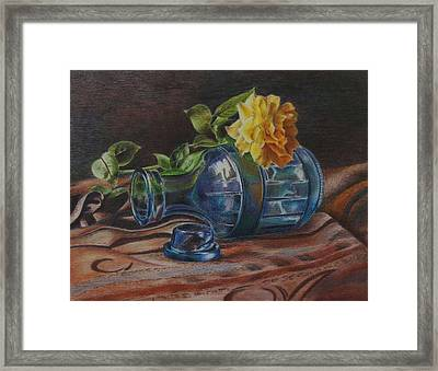 Yellow Rose On Blue Framed Print by Mary Jo Jung