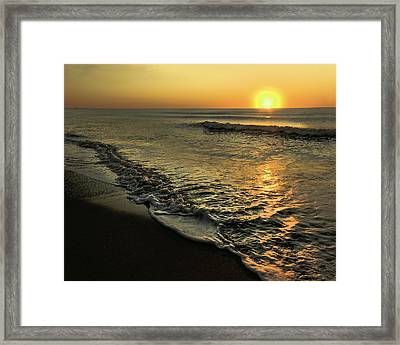 Yellow Sunset And Gentle Surf. Framed Print by Gene Camarco