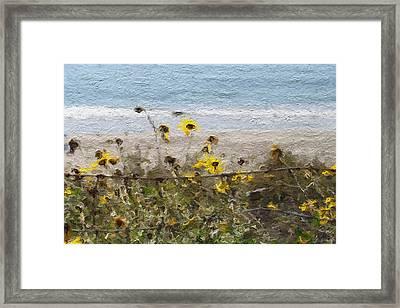 Yellow Wildflowers- Art By Linda Woods Framed Print by Linda Woods