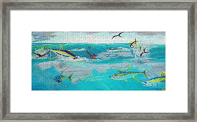 Yellowfinfrenzy On Wood Framed Print by Ken Figurski