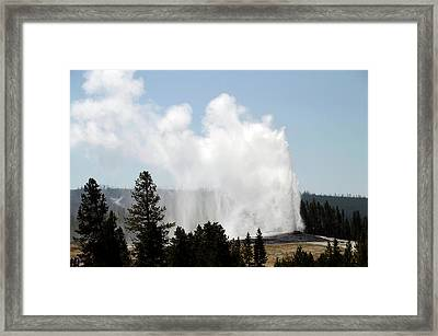 Yellowstone Park A View Of Old Faithful Unrestrained Framed Print by Thomas Woolworth