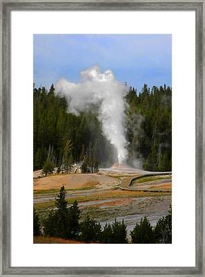 Yellowstone Park Wy - Geyser Letting Off Steam Framed Print by Christine Till