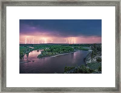Yellowstone River Lightning Framed Print by Leland D Howard