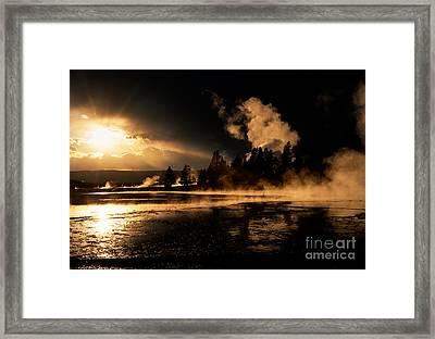 Yellowstone River Sunrise Framed Print by Sandra Bronstein