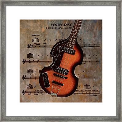 Yesterday - Paul Mccartney Hofner Bass Framed Print by Bill Cannon