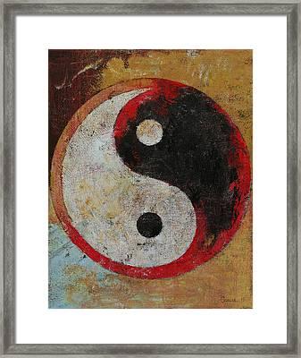 Yin Yang Red Dragon Framed Print by Michael Creese