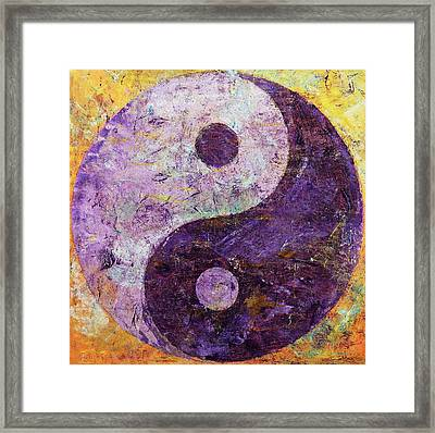 Purple Yin Yang Framed Print by Michael Creese