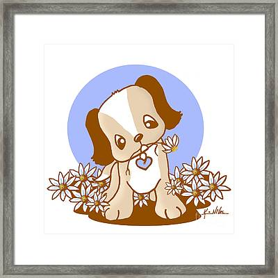 Yittle Puppy Framed Print by Kim Niles