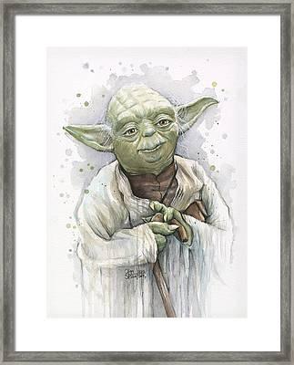 Yoda Framed Print by Olga Shvartsur