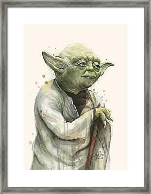 Yoda Portrait Framed Print by Olga Shvartsur