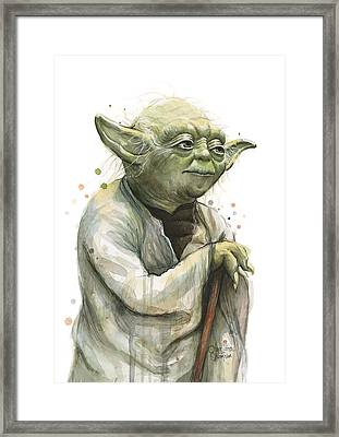 Yoda Watercolor Framed Print by Olga Shvartsur