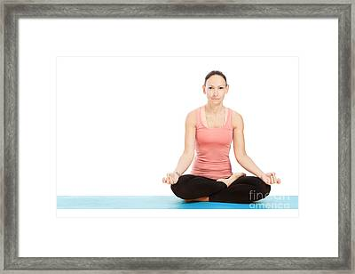 Yoga Pose Padmasana In Front Of White Background Framed Print by Wolfgang Steiner