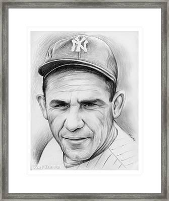 Yogi Berra Framed Print by Greg Joens