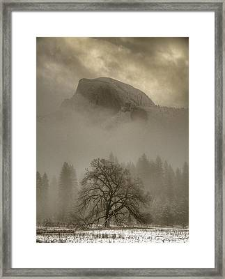 Yosemite In The Winter Framed Print by Connie Cooper-Edwards