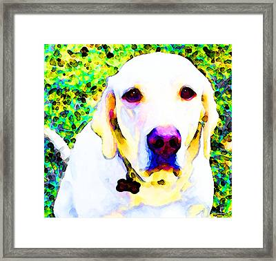 You Are My World - Yellow Lab Art Framed Print by Sharon Cummings