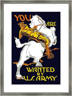 You Are Wanted By Us Army Framed Print by War Is Hell Store