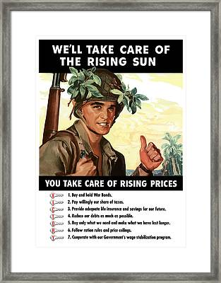 You Take Care Of Rising Prices Framed Print by War Is Hell Store