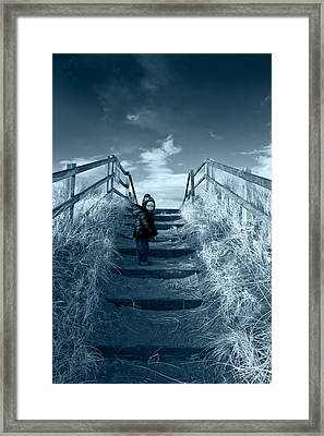 Young Boy On Steps Over Sand Dunes Framed Print by Panoramic Images