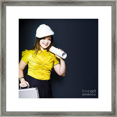 Young Female Architect On A Site Inspection Framed Print by Jorgo Photography - Wall Art Gallery