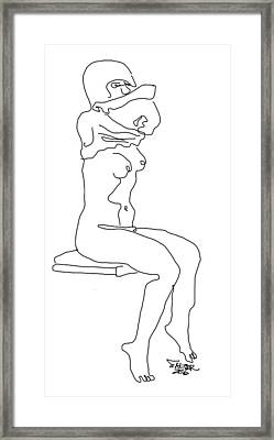 Young Girl Changing Framed Print by Robert Salter