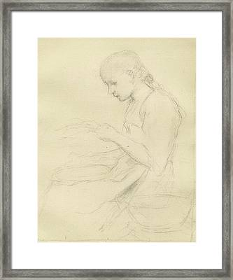 Young Girl Reading Framed Print by Anker Albert