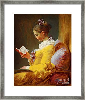 Young Girl Reading Framed Print by Celestial Images