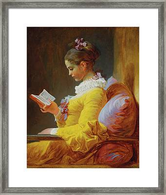 Young Girl Reading Framed Print by Jean Honore