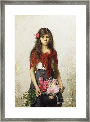 Young Girl With Blossoms Framed Print by Alexei Alexevich Harlamoff