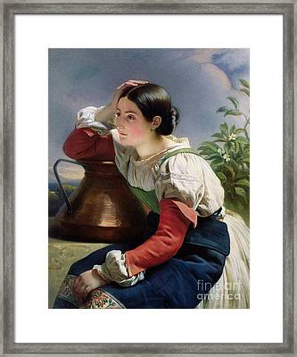 Young Italian At The Well Framed Print by Franz Xaver Winterhalter