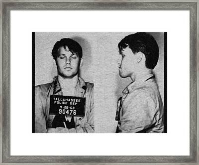 Young Jim Morrison Mug Shot 1963 Pencil Charcoal Black And White Framed Print by Tony Rubino