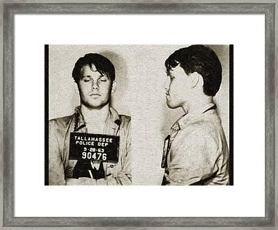 Young Jim Morrison Mug Shot 1963 Pencil Pastels Gold Framed Print by Tony Rubino