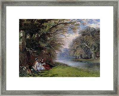 Young Ladies By A River Framed Print by John Edmund Buckley