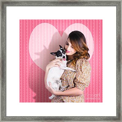 Young Loving Woman Holding Cute Small Pet Dog Framed Print by Jorgo Photography - Wall Art Gallery