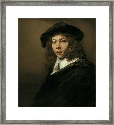 Young Man In A Black Beret Framed Print by Rembrandt